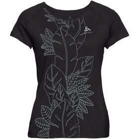 Odlo BL Concord T-shirt à col ras-du-cou Femme, black-flower leaf print ss19